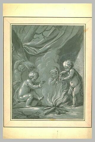 L'hiver : enfants se chauffant autour d'un feu