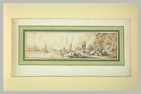 Barques sur un fleuve, et figures discutant sur ses berges