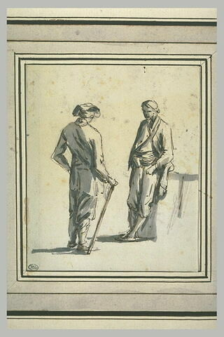 Deux hommes debout face à face, le premier à gauche, appuyé sur un bâton,...