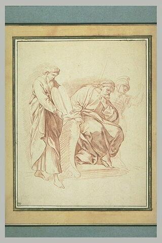 Moïse tenant les Tables de la Loi, homme barbu drapé, assis, et soldat