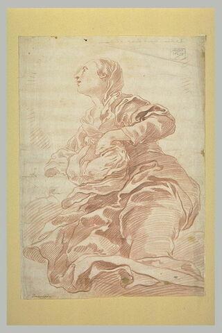 La Vierge à genoux sur des nuages