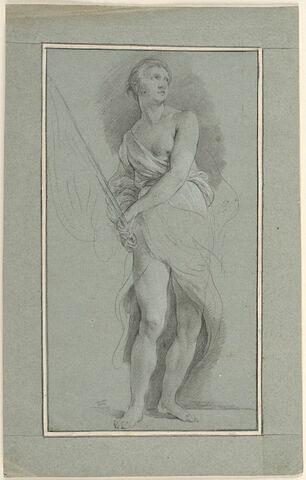 Femme debout, drapée, portant un étendard : Bellone