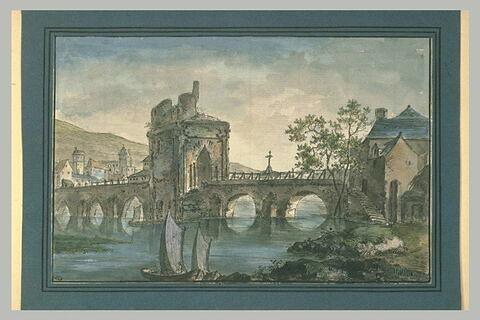 Tour en ruine sur un pont en pierre menant à une ville