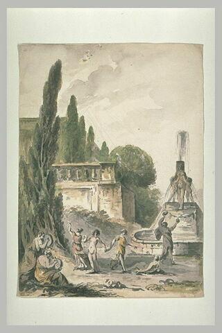 Danse de bacchantes dans un jardin, près d'une fontaine