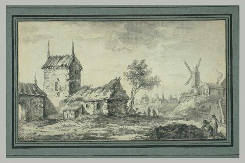 Village dans un paysage avec un moulin à vent et des chaumières