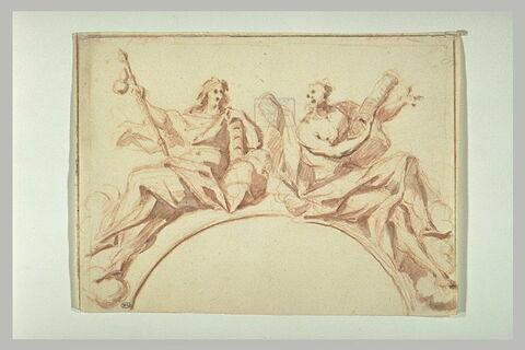 Saint Jacques et saint André sur des nuages : étude pour une coupole