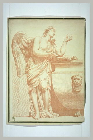 Ange tenant un coeur et sa draperie, accoudé à un sarcophage
