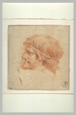 Tête de barbare, vue de profil à gauche, d'après la colonne Trajane