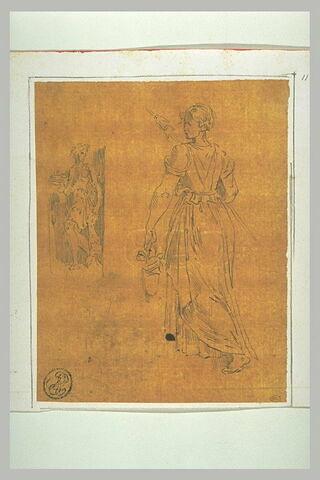 Servante portant une quenouille et un panier; figure dans une niche