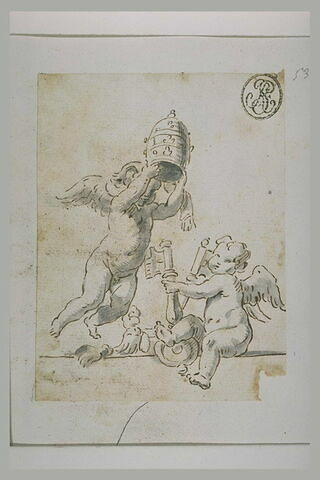Deux anges, l'un tenant une tiare et l'autre les clés de saint Pierre