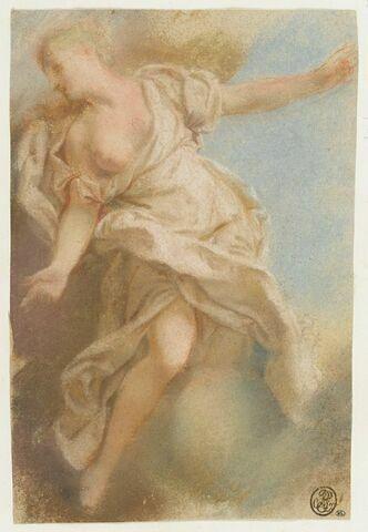 Femme à demi-nue sur un nuage, vue de face, tête de profil, les bras étendus