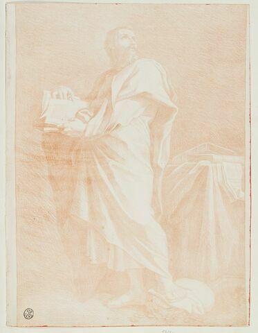 Saint Matthieu tenant un livre, le pied posé sur un sac d'argent