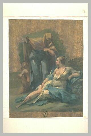 Vieille femme debout parlant à une jeune femme allongée, à demi nue