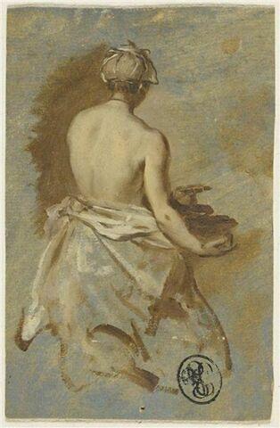 Le buste nu d'une servante, vue de dos