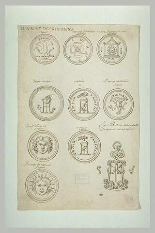 Planche présentant des monnaies de Rhodes