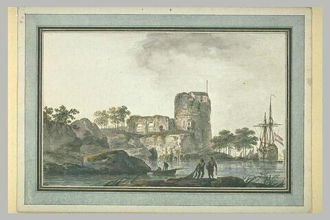 Paysage de bord de mer avec une tour