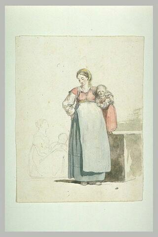 Paysanne posant son bras sur l'épaule d'une petite fille