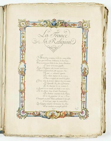 Texte gravé : 'La France à la Religion'