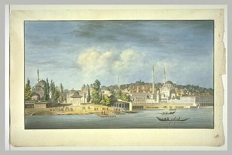 Vue d'Istanbul avec la caserne des canonniers et le faubourg de Pera