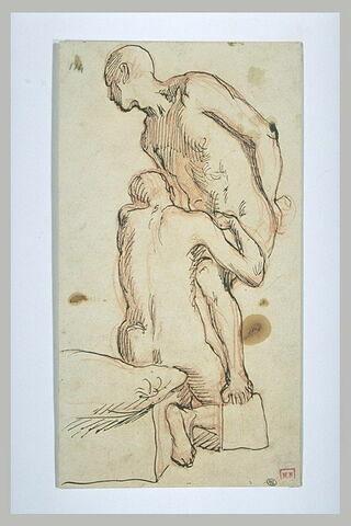 Deux hommes nus, l'un tourné vers la gauche, l'autre vu de dos et agenouillé