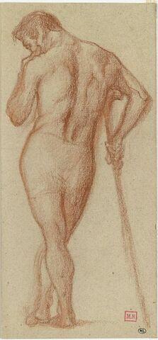Etude d'homme vu de dos, la main droite appuyée sur un bâton