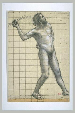Homme nu de profil à droite, lançant un javelot de la main droite