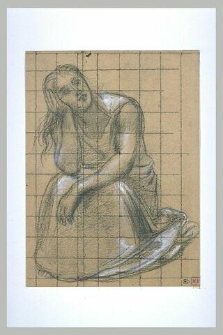 Femme assise, vue de face, le bras gauche pendant, la tête appuyée...
