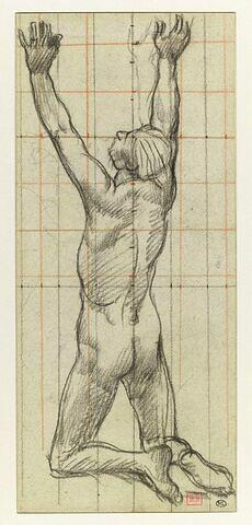 Homme nu, agenouillé, vu de dos, les bras levés