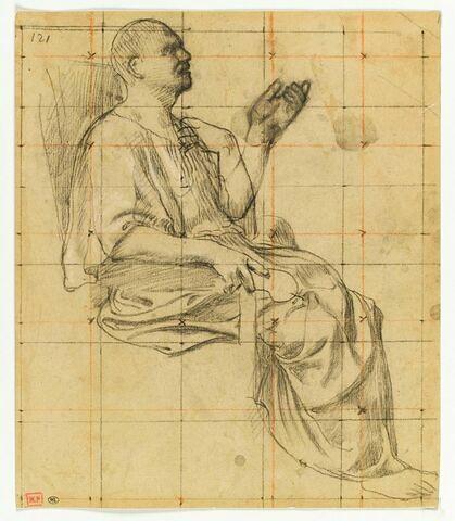 Homme assis, drapé, de profil vers la droite, la main gauche levée