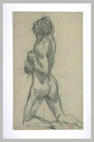 Homme nu agenouillé, vue de dos, les mains liées sur la poitrine