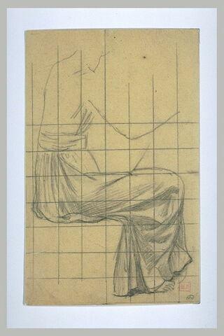 Etude de la robe d'une femme vue de profil à droite, le bras droit levé
