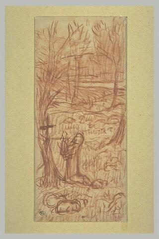 Personnage agenouillé devant un crucifix, de profil à gauche dans un paysage