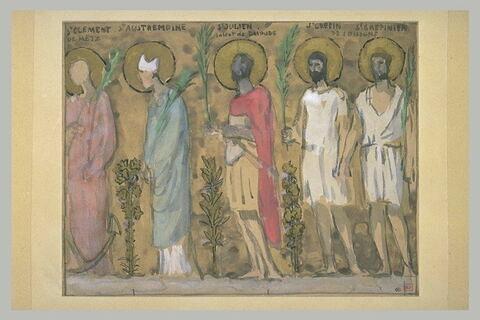 Procession de cinq saints allant vers la gauche