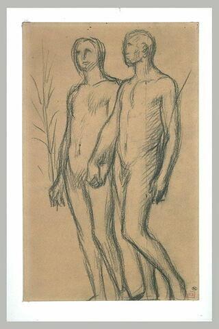 Deux hommes nus, se dirigeant vers la gauche, tenant des portant des palmes