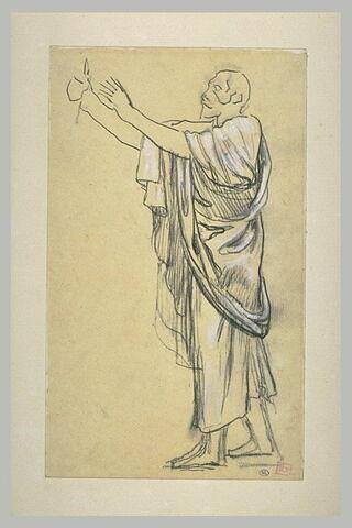 Homme vêtu d'une draperie, avançant vers la gauche, les bras levés et tendus