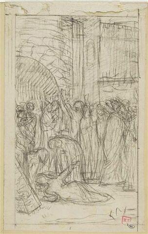 Groupe de personnages devant une porte