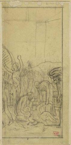 Groupe de personnages avec une femme étendue au premier plan
