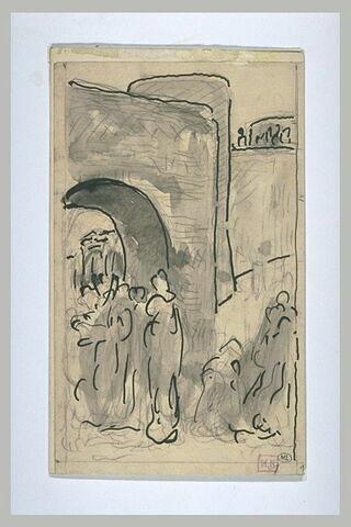 Groupe de personnages devant une porte et une tour