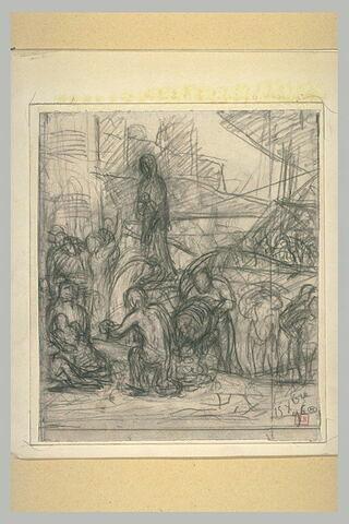 Personnages déchargeant des navires. Une figure drapée domine la scène