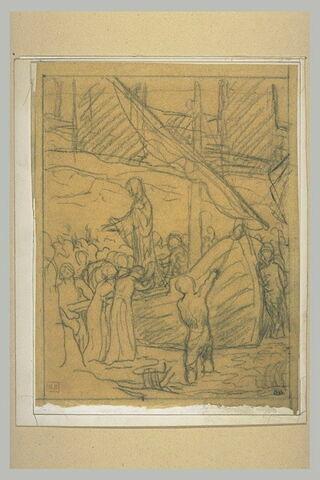 Personnages autour d'un bateau, une femme debout sur le pont