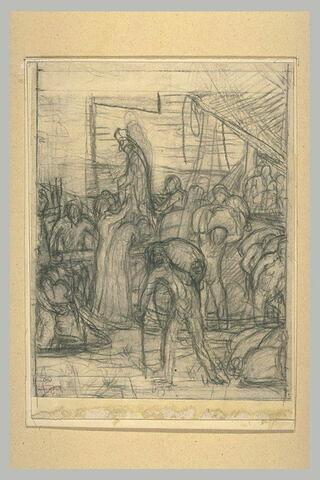 Groupe de personnages déchargeant un navire dont descend une femme