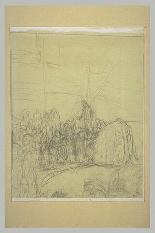 Groupe de personnages autour d'un bateau, une femme debout sur le pont
