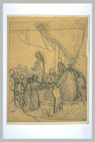Personnages groupés autour d'un bateau dont descend une femme