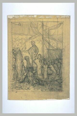 Personnages groupés autour d'une femme à la proue d'un bateau