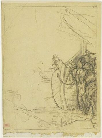 Personnages déchargeant un navire