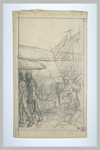 Deux hommes nus allant vers la gauche, devant des bateaux