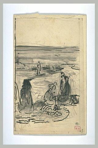 Personnages debout dans un paysage ; au fond, une barque sur un vaste fleuve