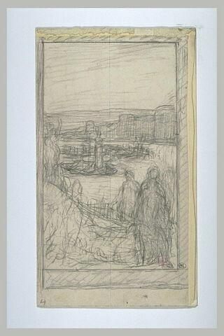 Personnages devant un fleuve où une femme se dresse sur une barque