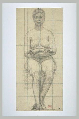 Femme nue assise, vue de face, les bras croisés