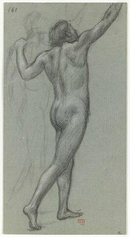 Deux hommes nus, l'un vu presque de dos, avançant vers la droite, ...